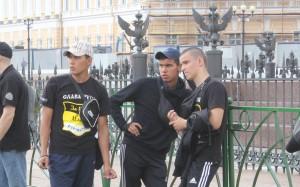 Группа русских националистов на Дворцовой площади