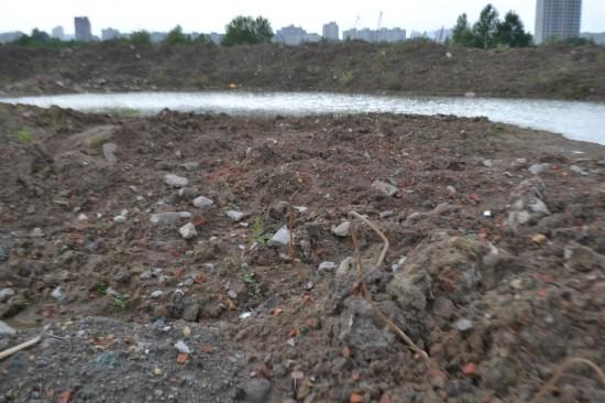Горы глины, земли и строительного мусора юго-восточнее «Софии»